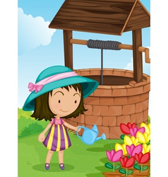 Girl by the well vector image vector image