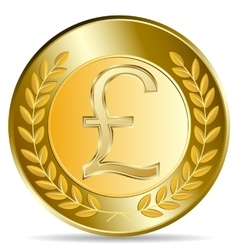 Gold coin with pound sterling sign vector image