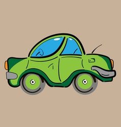 Green retro vintage flat car vector