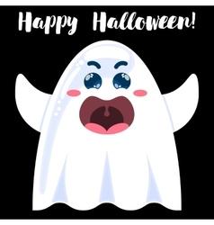Halloween funny cartoon ghost vector
