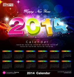 Happy new year Calendar 2014 vector image vector image