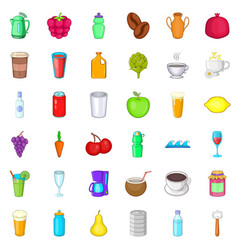 Hot drink icons set cartoon style vector