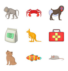 house favourite icons set cartoon style vector image