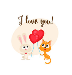 i love you card with bunny cat heart shaped vector image vector image