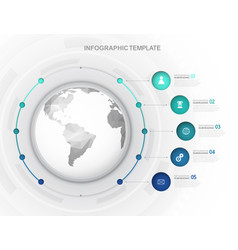 Infographic template with five circles and icons vector