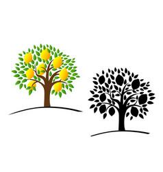 Lemon tree with green leaves vector