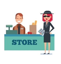 Mystery shopper woman in spy coat checks grocery vector