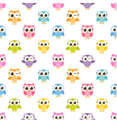Pattern with colorful funny owls vector