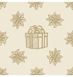 Poinsettia christmas gift box flower pattern vector
