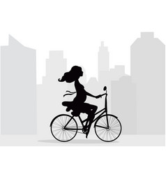 Pregnant woman rides bicycle on background of city vector