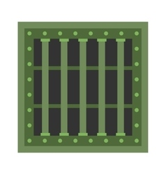 Prison cell window with metal green grill vector image