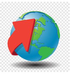 red arrow around globe- vector image