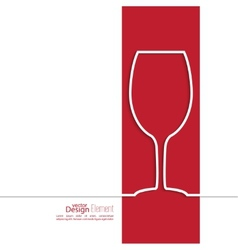 Ribbon in the form of wine glass with shadow and vector image
