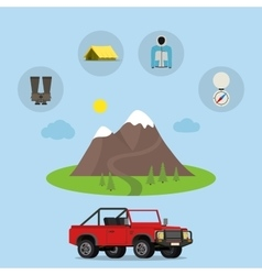 Set of camping equipment symbols icons vector image