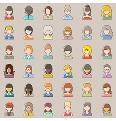 Set of outline people icons Women vector image vector image