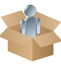 Shipping box with metallic man vector