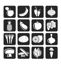 Silhouette Different kind of fruit and vegetables vector image vector image