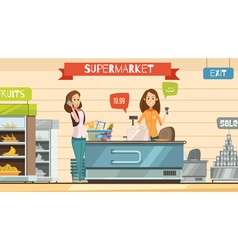 Supermarket Cashier at Register Retro Cartoon vector image
