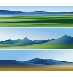 Three abstract banners with mountains vector image vector image
