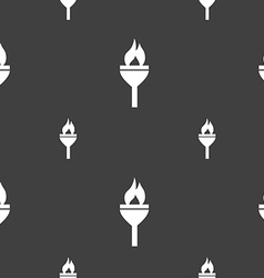 Torch icon sign Seamless pattern on a gray vector image vector image