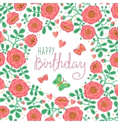 Vintage card happy birthday with cute flowers and vector