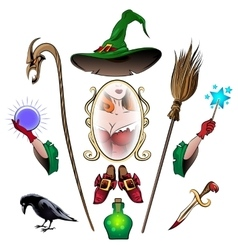 Witch Accessories Set vector image