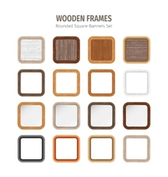 Wooden rounded square banners set vector