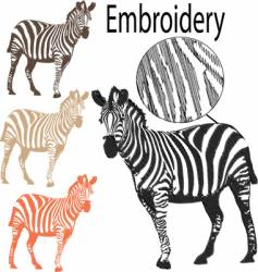 zebra set embroidery vector image