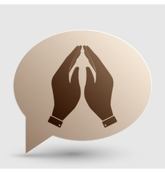 Hand icon  prayer symbol brown vector
