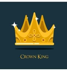 Golden king crown or retro monarch headdress vector