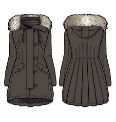 front and back view of a brown winter coat vector image