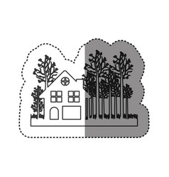 Sticker of monochrome contour of cottage in the vector