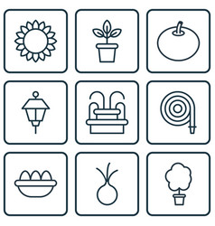 Set of 9 garden icons includes wood pot lantern vector