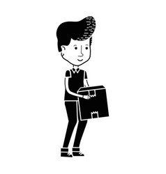 Contour delivery man with package box distribution vector