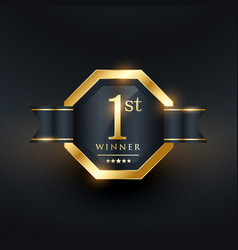 1st winner golden label template vector