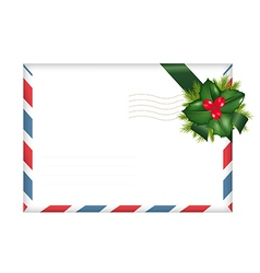 Envelope With Holly Berry vector image