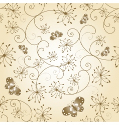 Floral butterfly seamless pattern vector