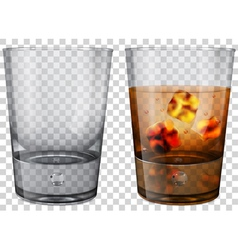 Whiskey glass with ice cubes vector