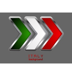 Abstract metallic arrow italian colors vector