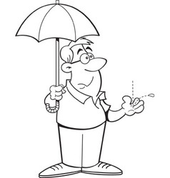Cartoon man holding an umbrella vector