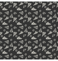 Pattern pepperoni pizza monochrome vector