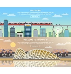 Singapore cultural travel 2 flat banners vector