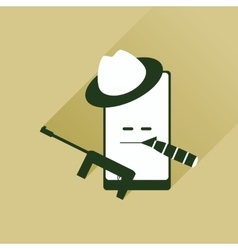 Flat web icon with long shadow mobile bandit vector