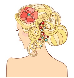 Woman with a wedding hairstyle vector