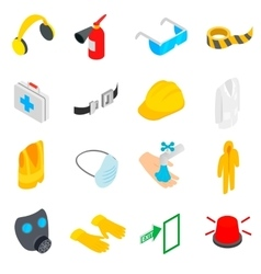 Safety icons set isometric 3d style vector image