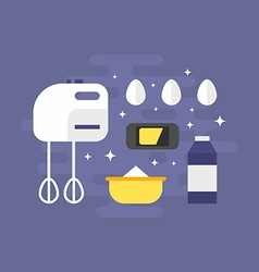 Cooking concept ingredients for pancakes with vector