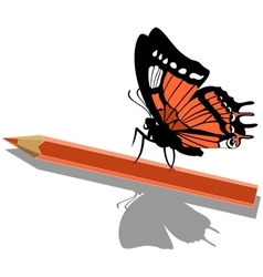 Butterfly on pen 14 vector