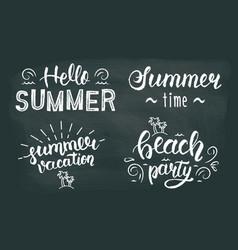 Summer chalk hand lettering set Summer chalk vector image
