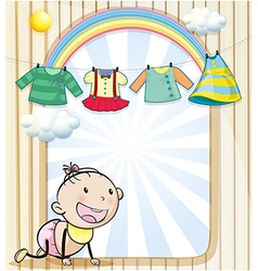 A baby girl with hanging clothes vector image vector image