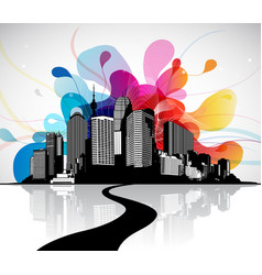 abstract sky with cityscape and bridge vector image